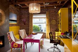 design ideas warm remodeling home office with brick walls and
