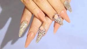 acrilyc nails precious gems mix bellas nails design youtube
