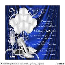 21st Birthday Invitation Cards Womans Royal Blue And Silver Birthday Party Luxe Invitation