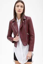 leather moto jacket forever 21 zippered faux leather moto jacket in purple lyst