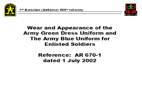 wear and appearance of the army green dress uniform and the army