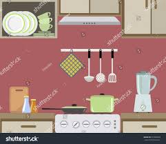 fragment interior kitchen red color there stock vector 557009638