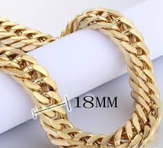 big gold necklace men images Gd gold necklace men jewelry 2 colors miami cuban chains thick jpg