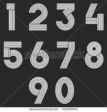 design lines font numbers set hipster parallel offset thin stock vector 531909043