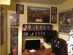 awesome decorating ideas using rectangle brown wooden tables in fair picture of man cave bedroom decoration using mounted wall black wood dvd rack including yellow