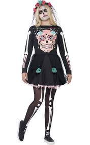 Young Girls Halloween Costumes Sugar Skull Teen Girls Costume Mexican Dead Costume