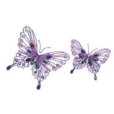 pack of 8 bright purple jeweled butterfly clip on