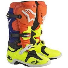 white motocross boots alpinestars tech 10 men s orange blue yellow white motocross boots