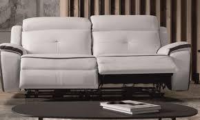 canapé cuir relax 3 places canapé de relaxation 3 places électrique cuir banc et gris corsa