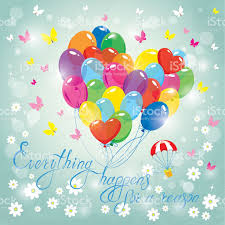 Bday Invitation Card Colorful Balloons On Sky Blue Background Birthday Invitation Card