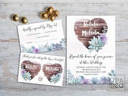 Succulent Wedding Invitations Rustic Wedding Invitation Floral Wedding Invitation Suite Boho