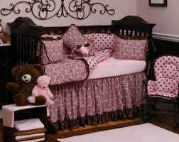 Pink And Brown Damask Crib Bedding Pink And Brown Brighten S Nursery Carousel Designs Prlog