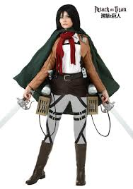 Girls Skeleton Halloween Costumes by Deluxe Attack On Titan Mikasa Costume