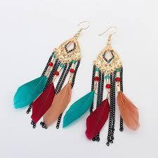 cheap earrings feather earrings ethnic style women tassel earrings cheap