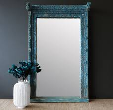 Decor Home India Nomad India Ancient Blue Fitted Door Mirror From Rajasthan