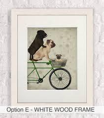 pug home decor pugs on bicycle pug print by fabfunky home decor