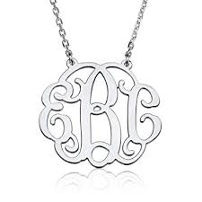 monogrammed pendant monogram necklace sterling silver personalized name