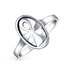 925 silver oval egyptian cross religious ankh ring