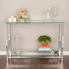 Entryway Console Table by Glass Entryway Table Shelf Contemporary Console Silver Chrome
