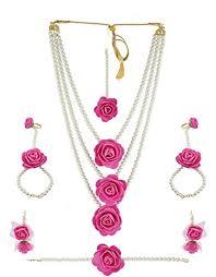 flower jewellery anuradha golden finish pink colour designer flower jewellery