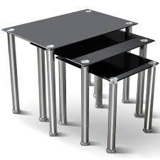 nest of coffee tables modern bigzzia black glass nest of 3 tables stainless steel chrome finish