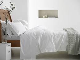 Bed Covers Set Baksana Waffle Piquet White Duvet Cover Set