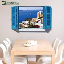 Home Decor Dropship Diy Home Decor Mediterranean Blue Scenery Fake Window 3d Wall