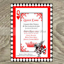 Card Party Invitation Alice In Wonderland White Rabbit Playing Card Party Invitation On