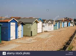 assorted beach huts at ferring near worthing west sussex england