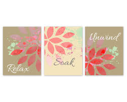 Bathroom Wall Decorations Bathroom Wall Decor Relax Soak Unwind Coral Bathroom Decor