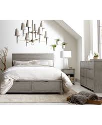 Grey Bed Frame Tribeca Grey Storage Platform Bed Created For Macy S