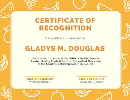 orange patterned fruits recognition certificate templates by canva