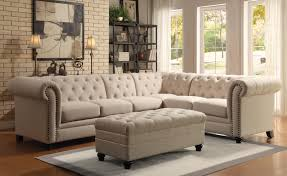Button Tufted Ottoman Light Brown Fabric Furniture Sectional L Sofa Sleeper With