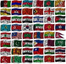 Flag Of All Countries Flags Of All Asia Countries On A Silk Background Stock Photo