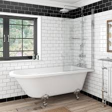 the bath co dulwich freestanding shower bath and bath screen with