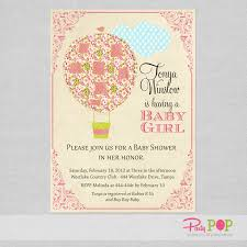 air balloon pink baby shower invitation pop