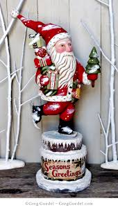 ice skating santa wood carving by greg guedel greg guedel studio