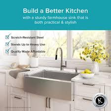 Stainless Steel Kitchen Sinks KrausUSAcom - Farmhouse double bowl kitchen sink