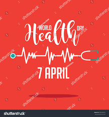 wold health day heartbeat stethoscope design stock vector