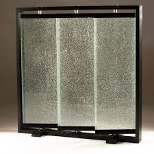 portable room dividers cracked glass partians triple panel crackled glass room