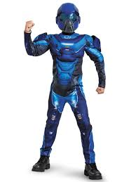 halo boys blue spartan classic muscle chest costume video games