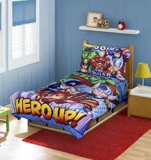 sweet kids bedroom with superhero wall decals combined wooden bed