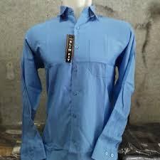 Baju Levis Biru jual kemeja lengan panjang polos biru muda biru laut bahan katun