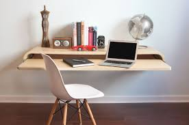 minimalist cream stained maple wood pull out computer table with