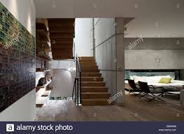 open plan living room and staircase in d house israel middle