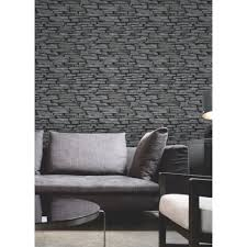fine decor slate effect wallpaper black charcoal fd31291