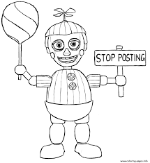 print balloon boy phantom five nights at freddys fnaf coloring