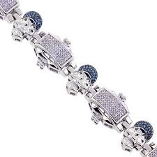 blue diamond bracelet images Mens blue diamond skull bracelet 14k white gold 2 10 ct 8 75 quot jpg