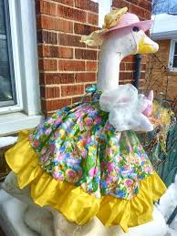 goose clothes for lawn goose easter dress choices w basket cement