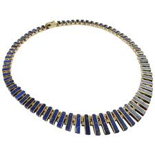 collar gold necklace images Lapis necklace vintage sterling silver collar necklace cleopatra jpg